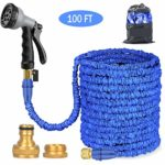 BALABA Expandable Garden Water Hose Pipe 100FT / 3 Times Expanding Flexible Magic Lightweight with 8 Function Spray Gun & Solid Brass Fittings/Anti-leakage Lightweight Easy Storage(Blue) (100ft)