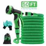 """Pathonor Garden Hose Expandable 50FT Flexible Anti-leak Water Hose Pipe with 3/4"""" 1/2"""" Fittings 9 Function Spray for Yard Watering Plants"""