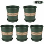 Yangbaga Round Plastic Plant Pots with Tray 24.5cm,Plant Pots for Indoor and Outdoor