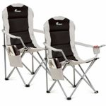 SUNMER Set Of 2 Folding Deluxe Padded Camping Chairs With Cup Holder And Side Pocket - Black & Grey: Amazon.co.uk: Sports & Outdoors