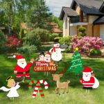 JoyTplay Pack of 8 Christmas Yard Signs with Stakes for Holiday Lawn Yard Outdoor Decorations