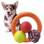 Puppy Dog Ball Toys Sports Sets Chase Play for Small Medium Dog EVA Bounce Rubber Tennis Ball Water Floating Ring for Fetch Interactive Swimming IQ Training Chewing Teething Outdoor Activity