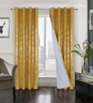 always4u Yellow Soft Velvet Curtains 100% Blackout Curtains for Living Room Foil Printed Thermal Insulated Curtains Shining Luxury Curtains for Bedroom Eyelet 1 Pair 46 * 72