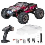 FLYHAL 9135 Pro Remote Control Car 4WD RC Car 1:16 Scale 45km/h High Speed RC Car for Adults Off-Road Truck with LED Front Lights Transparent DIY Car Shell (2 batteries)