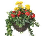"""Closer2Nature Artificial Red Begonia and Yellow Geranium Display in a 12"""" Round Willow Hanging Basket"""