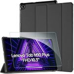 EasyAcc Case for Lenovo Tab M10 FHD Plus (2nd Gen) 10.3 Inch with Tempered Glass - Ultra Thin Case with Stand Function Auto Sleep/Wake Up Function Slim Protective Case for Lenovo Tab M10 Plus (Black)
