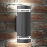 Auraglow Indoor / Outdoor Double Up & Down Wall Light - Silver - Cool White LED Bulbs Included            [Energy Class A+]