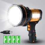 MAYTHANK High Powered LED Torch Super Bright Rechargeable Flashlight Large 4 Batteries Big Searchlight Hand held Powerful Spotlight Heavy Duty Strong USB Search Light High Lumens