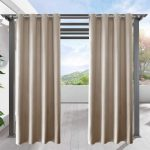 LIFONDER Privacy Blackout Porch Curtains - Weighted Outdoor Deck Décor Drapes Grommet Thermal Insulated Waterproof Patio Blind / Draperies for Pergolas and Gazebos