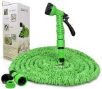 Opard Garden Hose Pipe 50ft Water Hose 3 Times Expendable Water Pipe with 7 Function Spray Gun for Garden