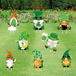 Gehydy St. Patrick's Day Gnome Yard Sign Decorations 2021 New 8PCS Gnome Swedish Tomte Outdoor Lawn Party Decor Ornaments with Stakes