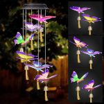 Winzwon Solar Wind Chimes Butterfly Outdoor Home Mobile Hanging Bells Chime Decor for Garden Patio Porch Deck Waterproof Butterflies Color Changing LED Solar Lights Grandma Women Mom Gifts
