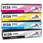 Kingway 913A Ink Cartridges for HP 913 913A Ink Black Cyan Magenta Yellow Compatible with HP PageWide 352dw 377dw